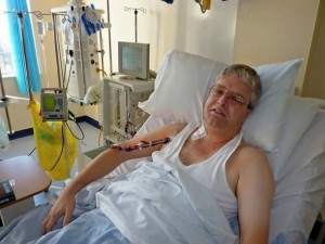 Keith undergoing plasmapheresis - so brave